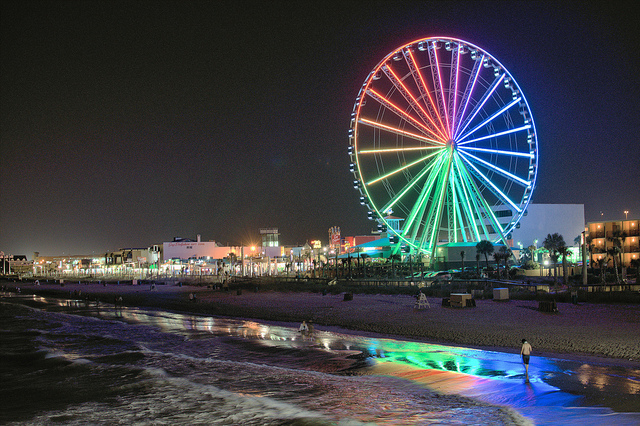Myrtle Beach Beautiful Scenic View At Night The