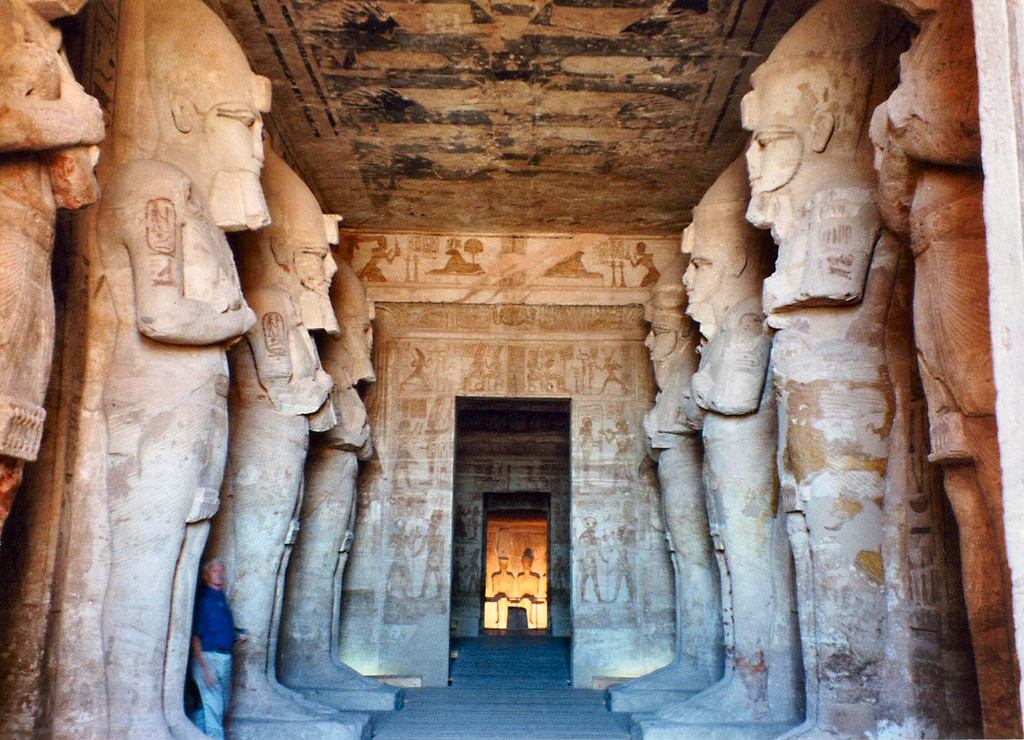 Inside the gate of Abu Simbel, on both sides there are statues ...