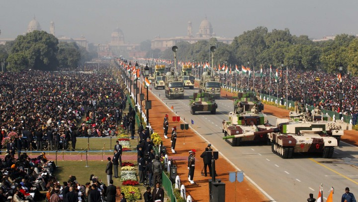 Indian Army's MBT Arjun MK-I tanks are driven for display during the Republic Day parade in New Delhi