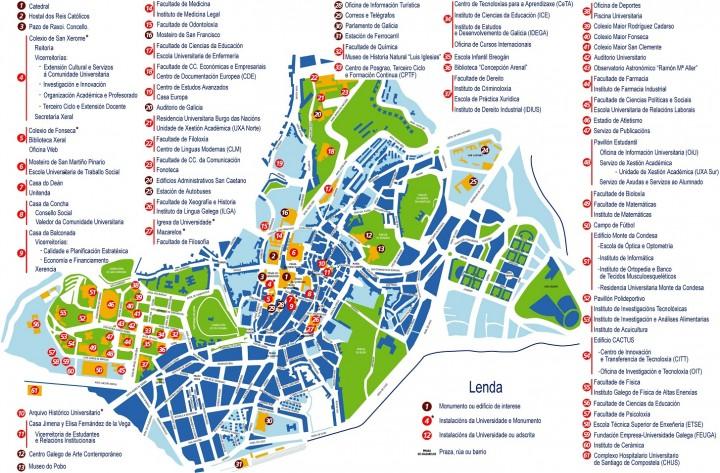 Santiago de Compostela spain tourist map