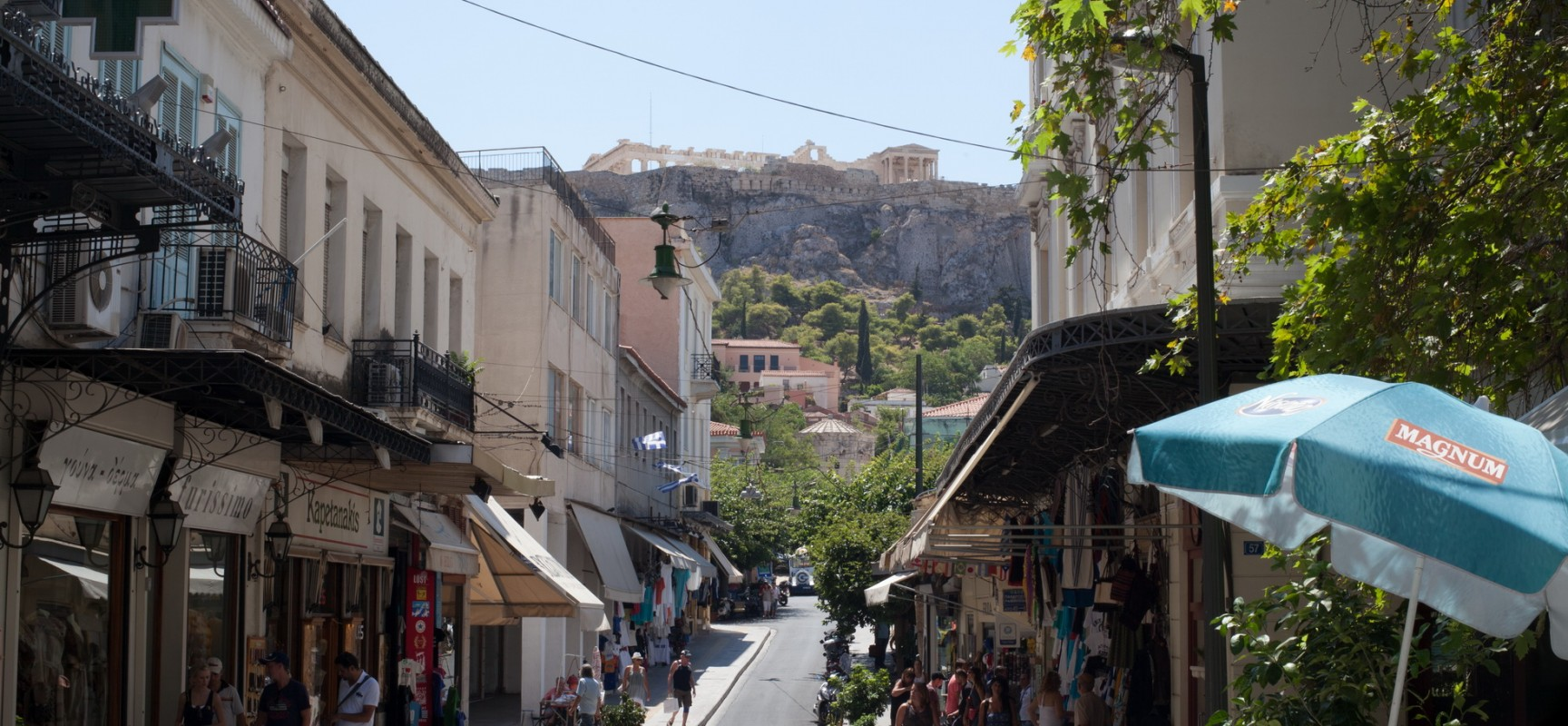 photos of the Plaka,shops and restaurants,Church of Panaghia,graffiti,Acropolis,Athens,Greece